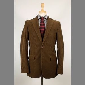 #Zara 40R Brown Solid Corduroy 2B Sport Coat 77-C